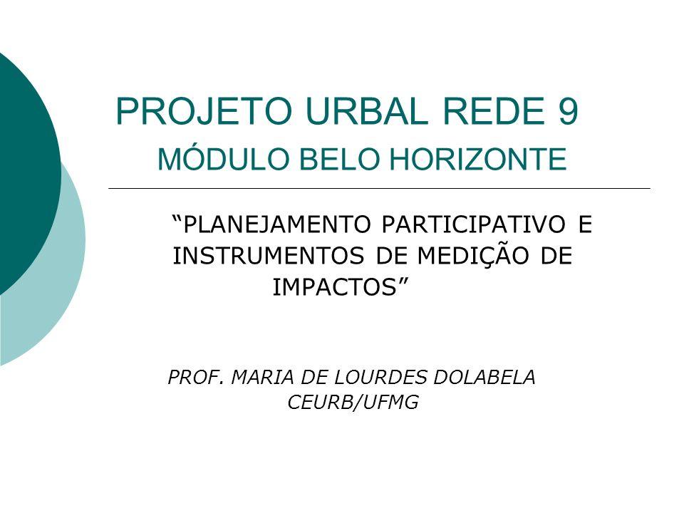 PROJETO URBAL REDE 9 MÓDULO BELO HORIZONTE PLANEJAMENTO PARTICIPATIVO E INSTRUMENTOS DE MEDIÇÃO DE IMPACTOS PROF.