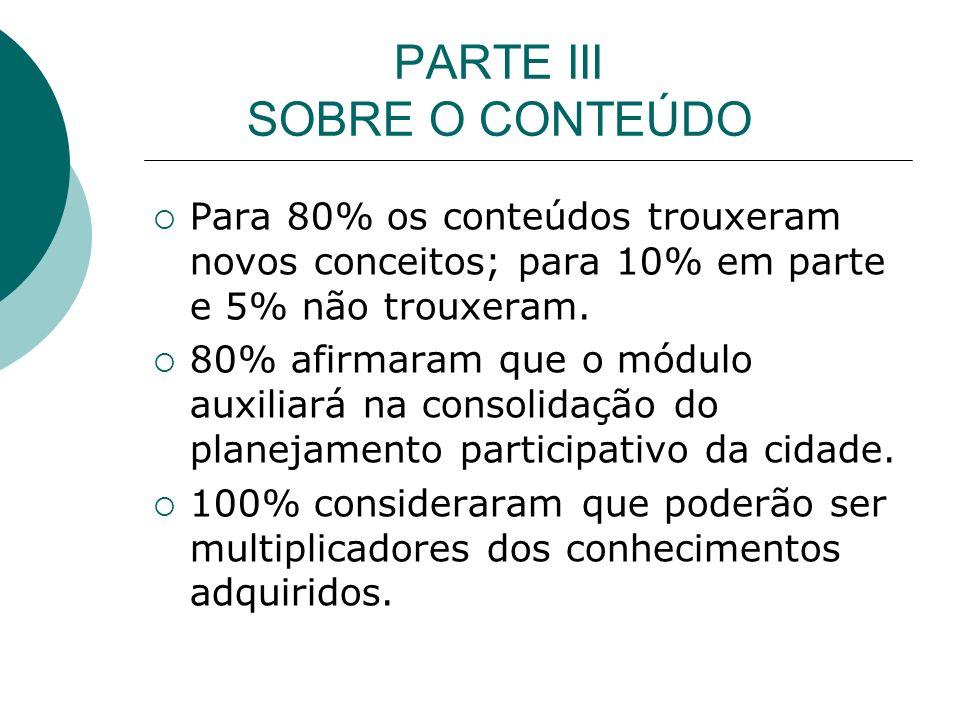 PARTE III SOBRE O CONTEÚDO Para 80% os conteúdos trouxeram novos conceitos; para 10% em parte e 5% não trouxeram.
