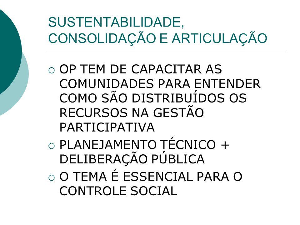 SUSTENTABILIDADE, CONSOLIDAÇÃO E ARTICULAÇÃO OP TEM DE CAPACITAR AS COMUNIDADES PARA ENTENDER COMO SÃO DISTRIBUÍDOS OS RECURSOS NA GESTÃO PARTICIPATIVA PLANEJAMENTO TÉCNICO + DELIBERAÇÃO PÚBLICA O TEMA É ESSENCIAL PARA O CONTROLE SOCIAL