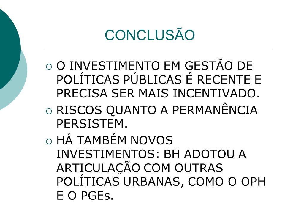 CONCLUSÃO O INVESTIMENTO EM GESTÃO DE POLÍTICAS PÚBLICAS É RECENTE E PRECISA SER MAIS INCENTIVADO.