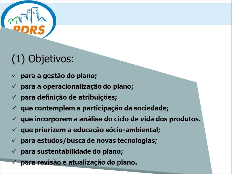 (1) Objetivos: para a gestão do plano; para a operacionalização do plano; para definição de atribuições; que contemplem a participação da sociedade; q