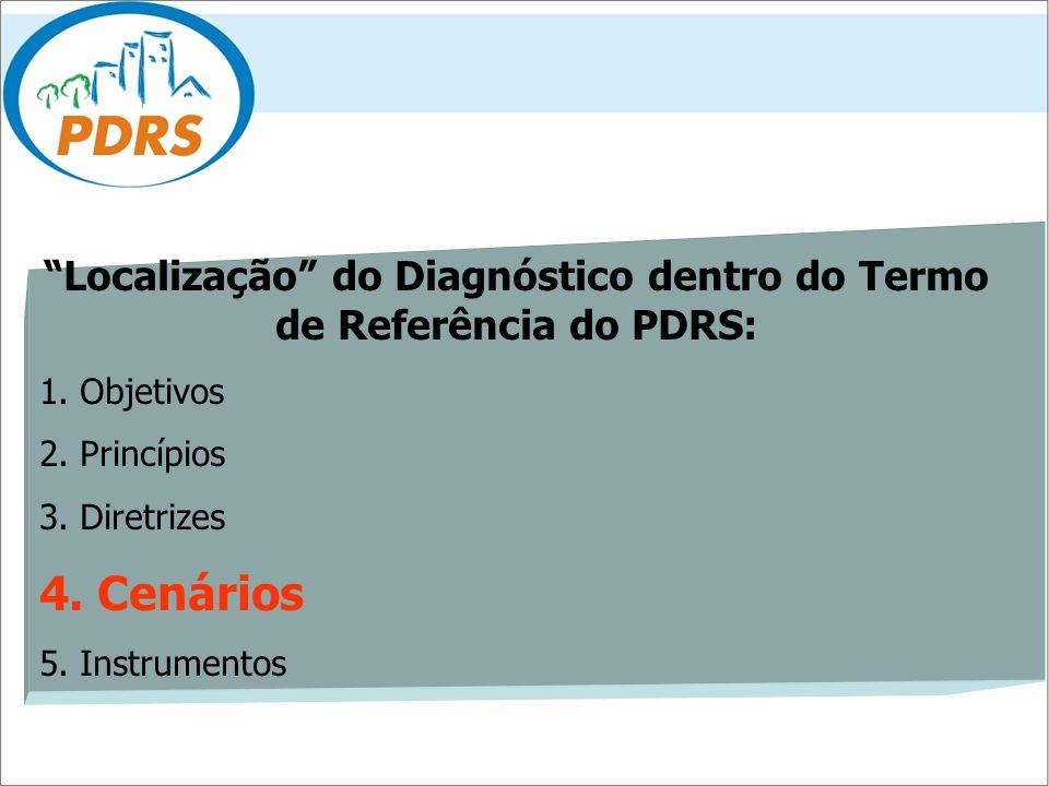 Localização do Diagnóstico dentro do Termo de Referência do PDRS: 1. Objetivos 2. Princípios 3. Diretrizes 4. Cenários 5. Instrumentos