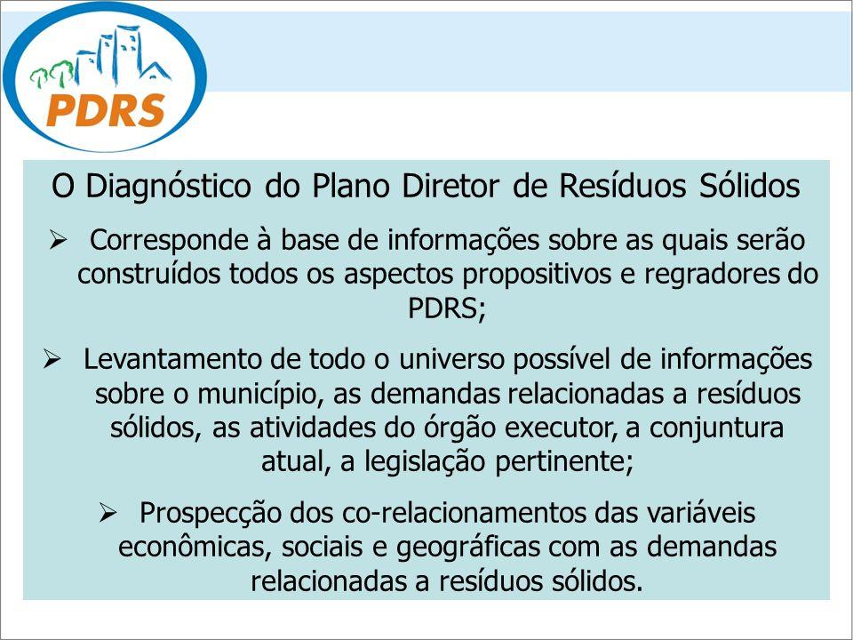 O Diagnóstico do Plano Diretor de Resíduos Sólidos Corresponde à base de informações sobre as quais serão construídos todos os aspectos propositivos e