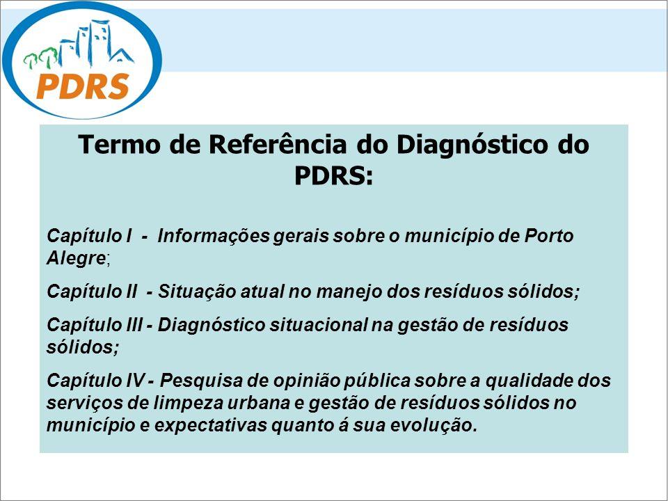 Termo de Referência do Diagnóstico do PDRS: Capítulo I -Informações gerais sobre o município de Porto Alegre; Capítulo II - Situação atual no manejo d
