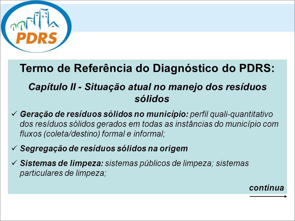 Termo de Referência do Diagnóstico do PDRS: Capítulo II - Situação atual no manejo dos resíduos sólidos Geração de resíduos sólidos no município: perf