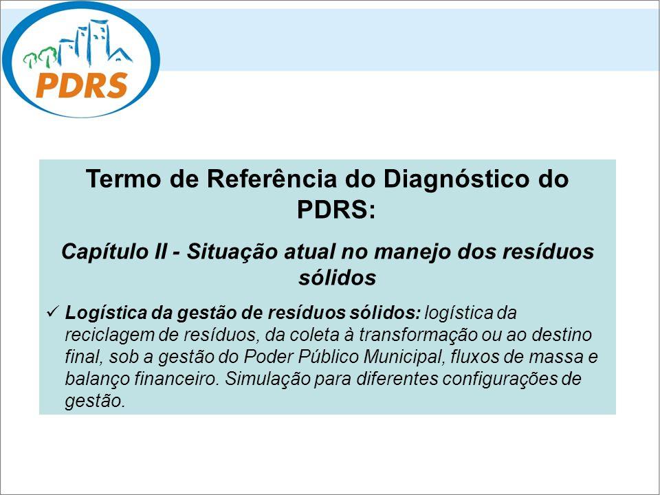 Termo de Referência do Diagnóstico do PDRS: Capítulo II - Situação atual no manejo dos resíduos sólidos Logística da gestão de resíduos sólidos: logís
