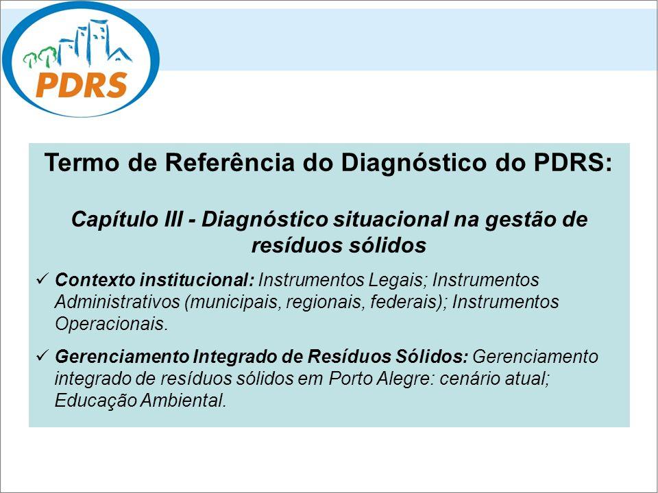 Termo de Referência do Diagnóstico do PDRS: Capítulo III - Diagnóstico situacional na gestão de resíduos sólidos Contexto institucional: Instrumentos
