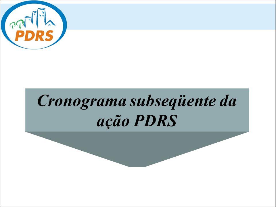 Cronograma subseqüente da ação PDRS