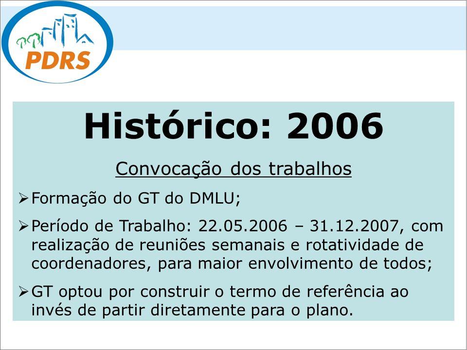 Histórico: 2006 Convocação dos trabalhos Formação do GT do DMLU; Período de Trabalho: 22.05.2006 – 31.12.2007, com realização de reuniões semanais e r