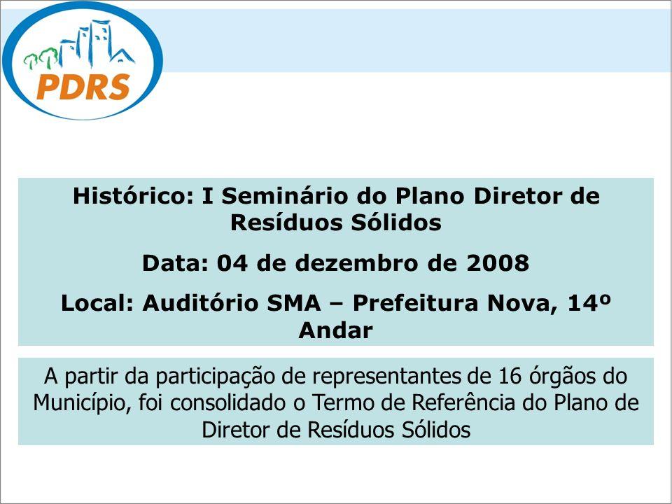 Histórico: I Seminário do Plano Diretor de Resíduos Sólidos Data: 04 de dezembro de 2008 Local: Auditório SMA – Prefeitura Nova, 14º Andar A partir da