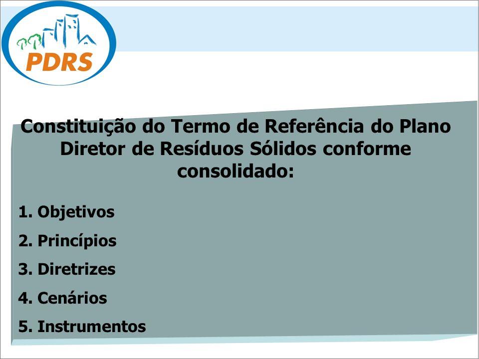 Constituição do Termo de Referência do Plano Diretor de Resíduos Sólidos conforme consolidado: 1. Objetivos 2. Princípios 3. Diretrizes 4. Cenários 5.