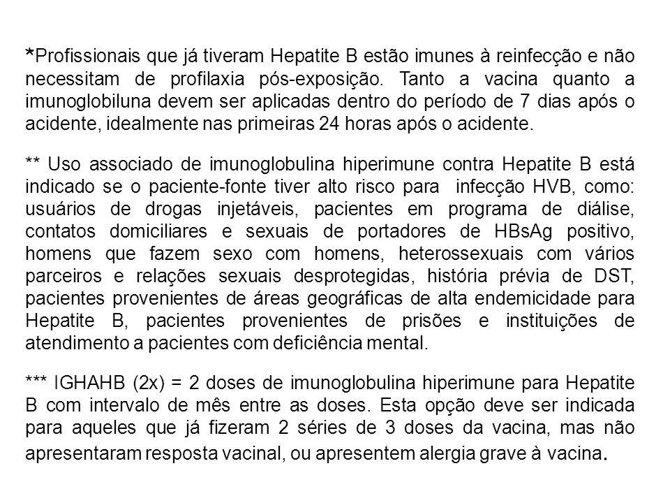 * Profissionais que já tiveram Hepatite B estão imunes à reinfecção e não necessitam de profilaxia pós-exposição. Tanto a vacina quanto a imunoglobilu