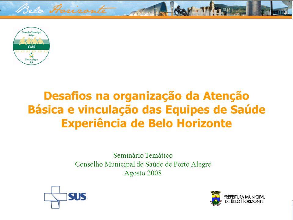 Desafios na organização da Atenção Básica e vinculação das Equipes de Saúde Experiência de Belo Horizonte Seminário Temático Conselho Municipal de Saú