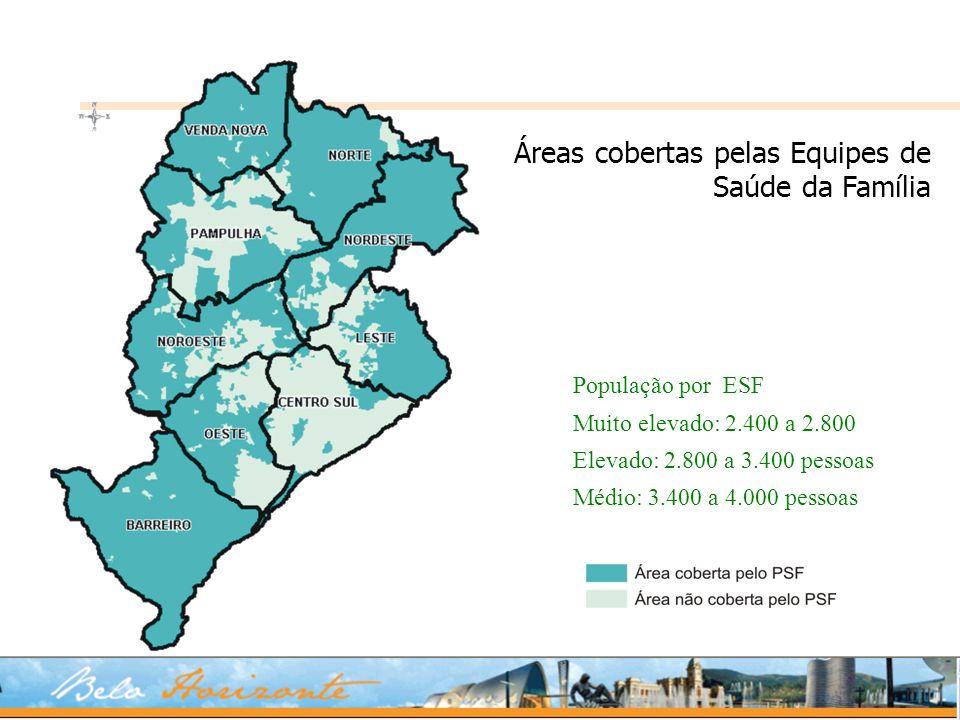 Áreas cobertas pelas Equipes de Saúde da Família População por ESF Muito elevado: 2.400 a 2.800 Elevado: 2.800 a 3.400 pessoas Médio: 3.400 a 4.000 pe
