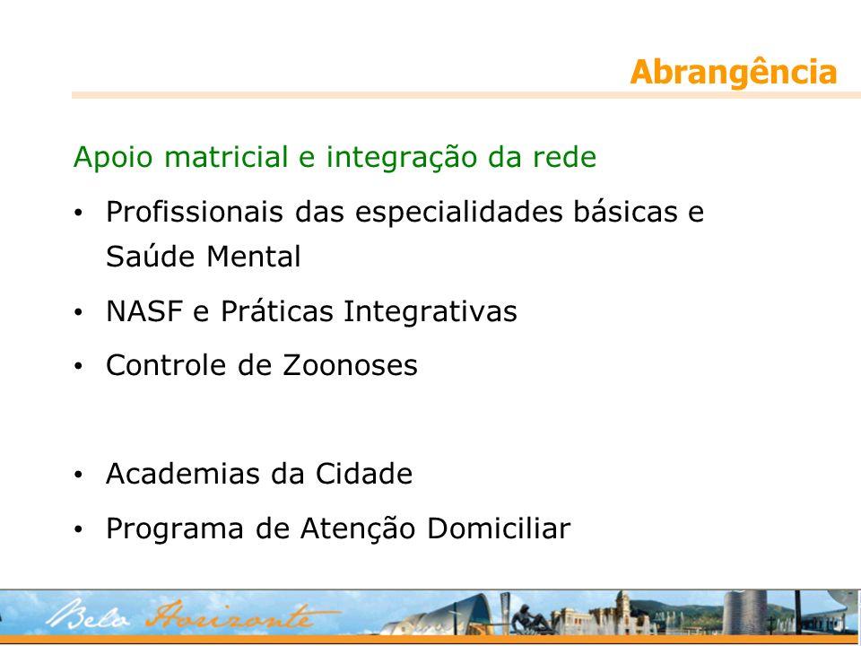 Abrangência Apoio matricial e integração da rede Profissionais das especialidades básicas e Saúde Mental NASF e Práticas Integrativas Controle de Zoonoses Academias da Cidade Programa de Atenção Domiciliar