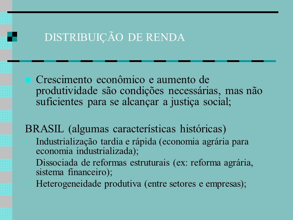 DISTRIBUIÇÃO DE RENDA Brasil (algumas características históricas) - Exôdo rural com crescimento do mercado de trabalho urbano; - Caracterizado por pouca ou nenhuma qualificação: Favoreceu o achatamento de salários de base; Favoreceu a dispersão salarial e desigualdade entre os rendimentos