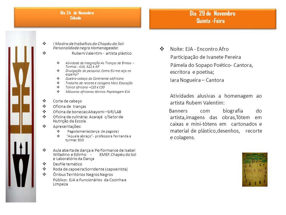 I Mostra de trabalhos do Chapéu do Sol: Personalidade negra Homenageada: Rubem Valentim - artista plástico Atividade de integração:As Tranças de Binto