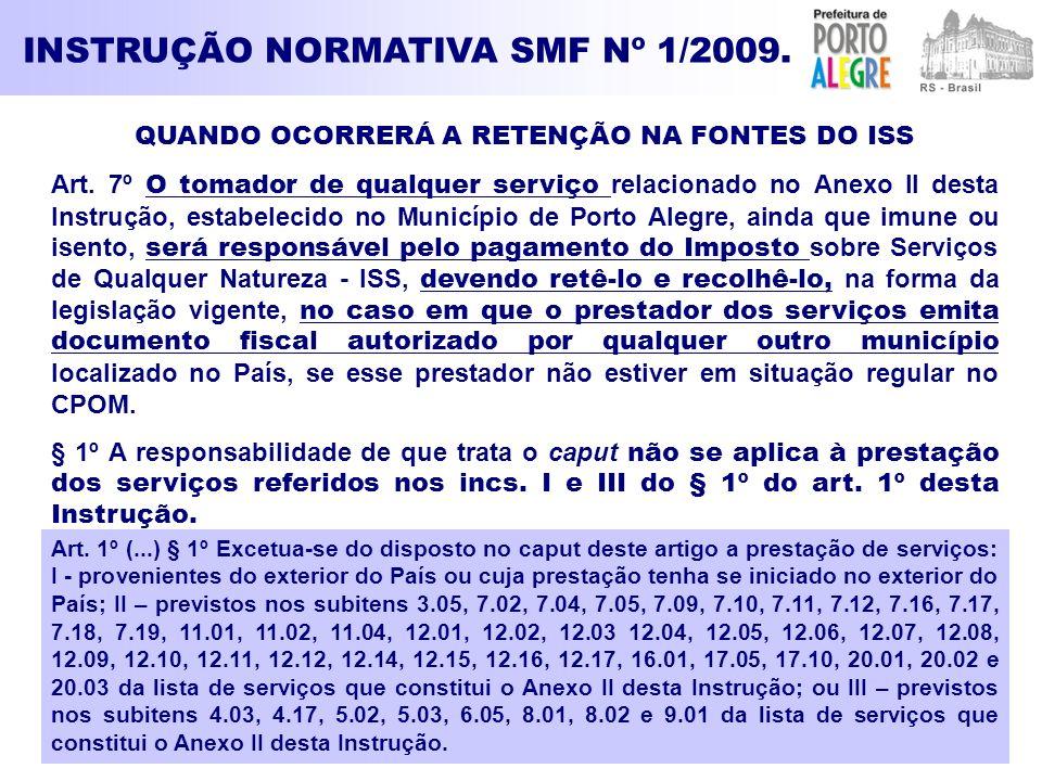 INSTRUÇÃO NORMATIVA SMF Nº 1/2009. QUANDO OCORRERÁ A RETENÇÃO NA FONTES DO ISS Art. 7º O tomador de qualquer serviço relacionado no Anexo II desta Ins
