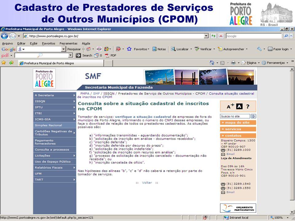 Cadastro de Prestadores de Serviços de Outros Municípios (CPOM)