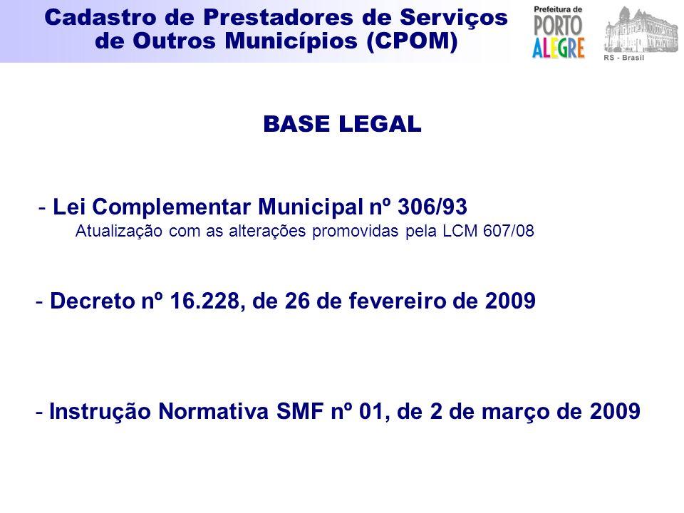 BASE LEGAL - Lei Complementar Municipal nº 306/93 Atualização com as alterações promovidas pela LCM 607/08 - Decreto nº 16.228, de 26 de fevereiro de