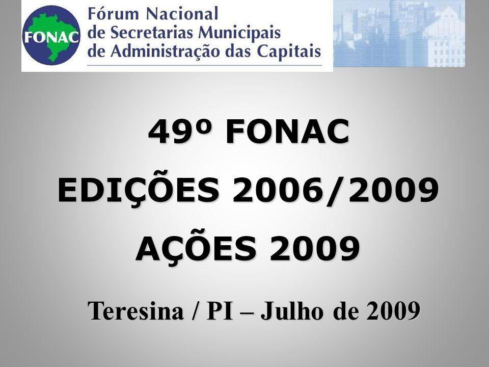 EDIÇÕES REALIZADAS 2006/2009 1.Mar/0639° FONAC – Porto Alegre / RS 2.