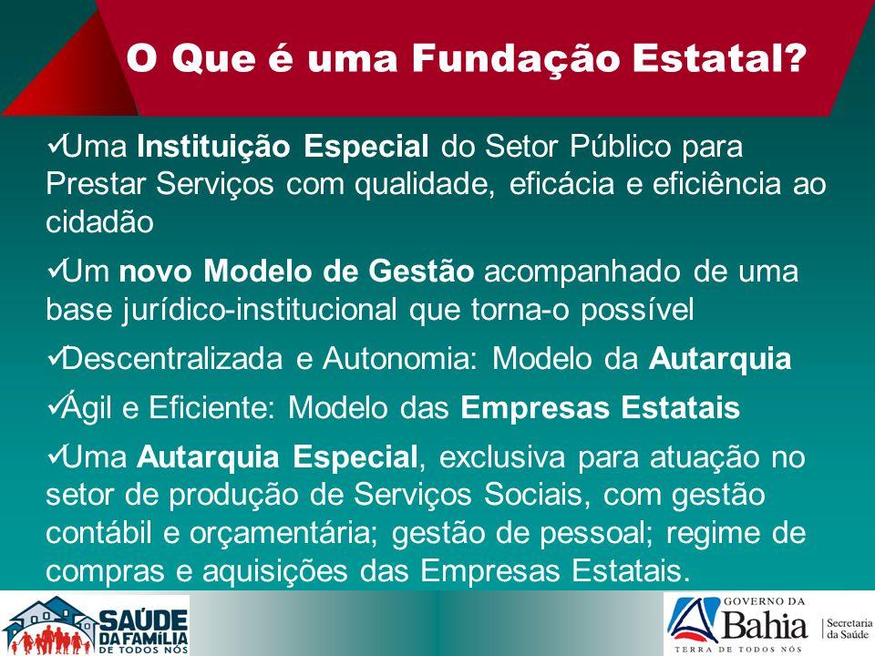O Que é uma Fundação Estatal? Uma Instituição Especial do Setor Público para Prestar Serviços com qualidade, eficácia e eficiência ao cidadão Um novo