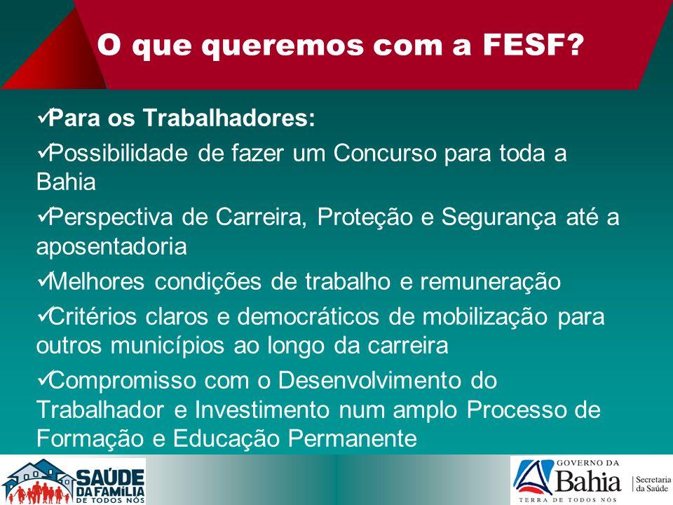 O que queremos com a FESF? Para os Trabalhadores: Possibilidade de fazer um Concurso para toda a Bahia Perspectiva de Carreira, Proteção e Segurança a
