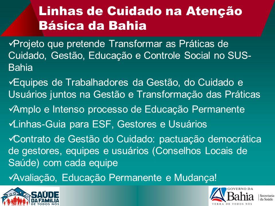 Linhas de Cuidado na Atenção Básica da Bahia Projeto que pretende Transformar as Práticas de Cuidado, Gestão, Educação e Controle Social no SUS- Bahia