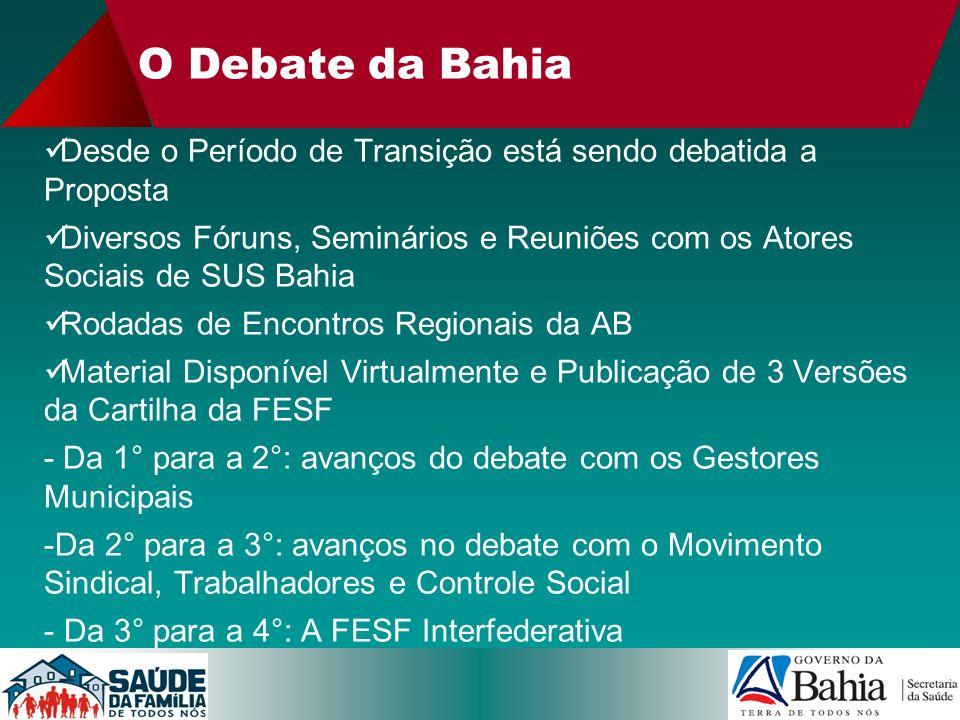 O Debate da Bahia Desde o Período de Transição está sendo debatida a Proposta Diversos Fóruns, Seminários e Reuniões com os Atores Sociais de SUS Bahi