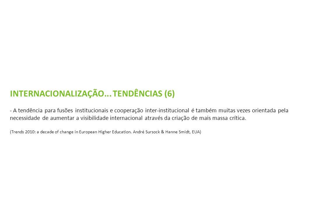 INTERNACIONALIZAÇÃO... TENDÊNCIAS (6) - A tendência para fusões institucionais e cooperação inter-institucional é também muitas vezes orientada pela n