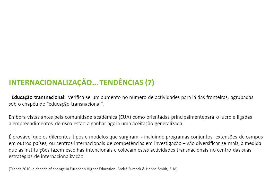 INTERNACIONALIZAÇÃO... TENDÊNCIAS (7) - Educação transnacional: Verifica-se um aumento no número de actividades para lá das fronteiras, agrupadas sob