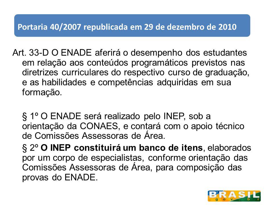 Portaria 40/2007 republicada em 29 de dezembro de 2010 Art. 33-D O ENADE aferirá o desempenho dos estudantes em relação aos conteúdos programáticos pr