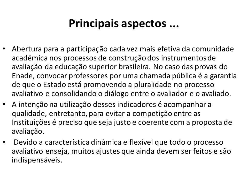Principais aspectos... Abertura para a participação cada vez mais efetiva da comunidade acadêmica nos processos de construção dos instrumentos de aval