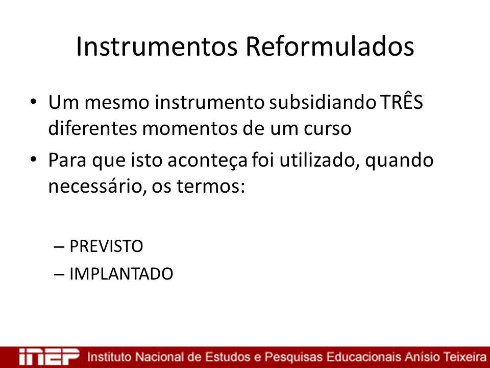 Instrumentos Reformulados Um mesmo instrumento subsidiando TRÊS diferentes momentos de um curso Para que isto aconteça foi utilizado, quando necessári