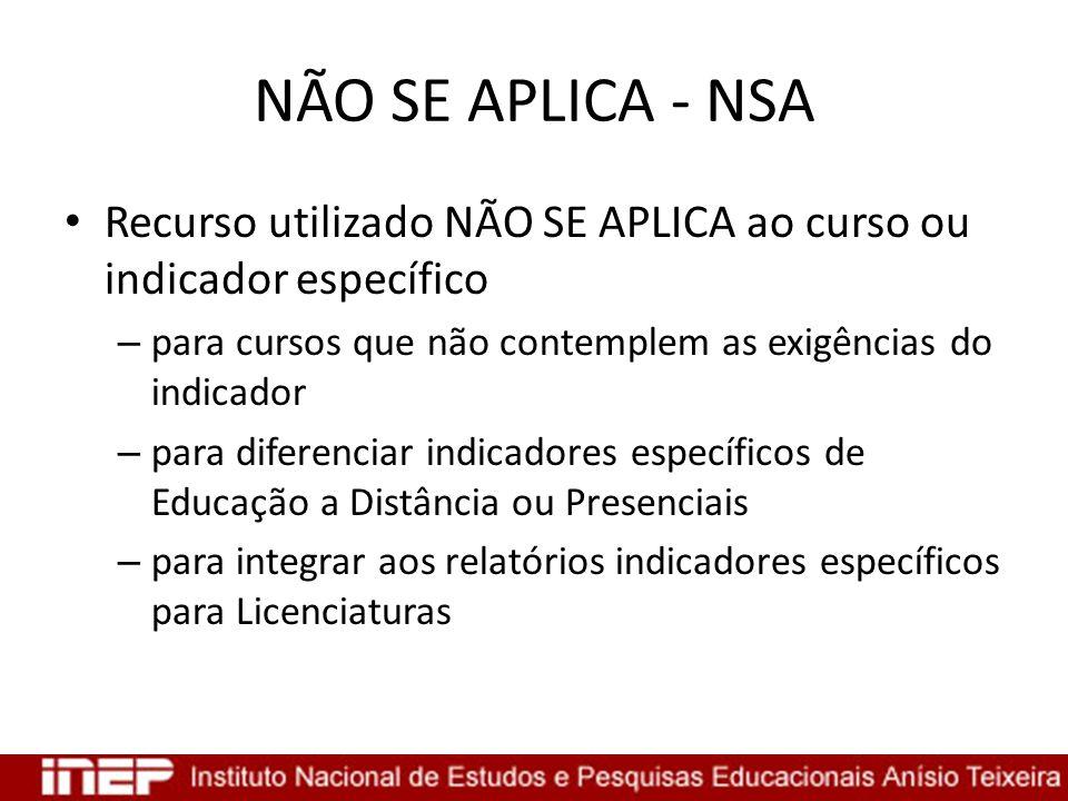 NÃO SE APLICA - NSA Recurso utilizado NÃO SE APLICA ao curso ou indicador específico – para cursos que não contemplem as exigências do indicador – par
