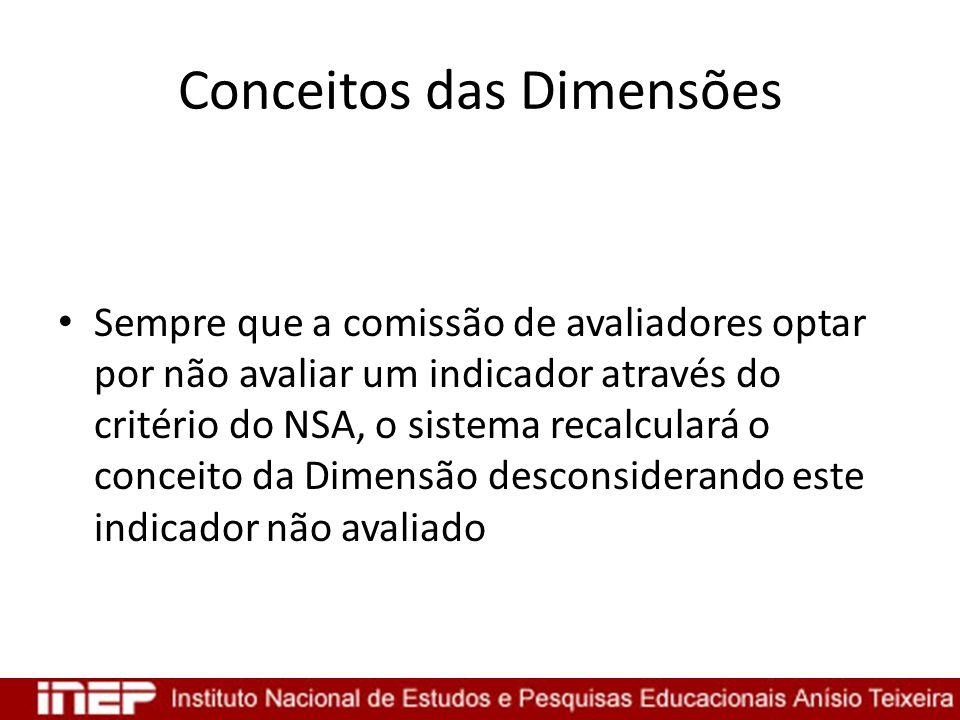 Conceitos das Dimensões Sempre que a comissão de avaliadores optar por não avaliar um indicador através do critério do NSA, o sistema recalculará o co