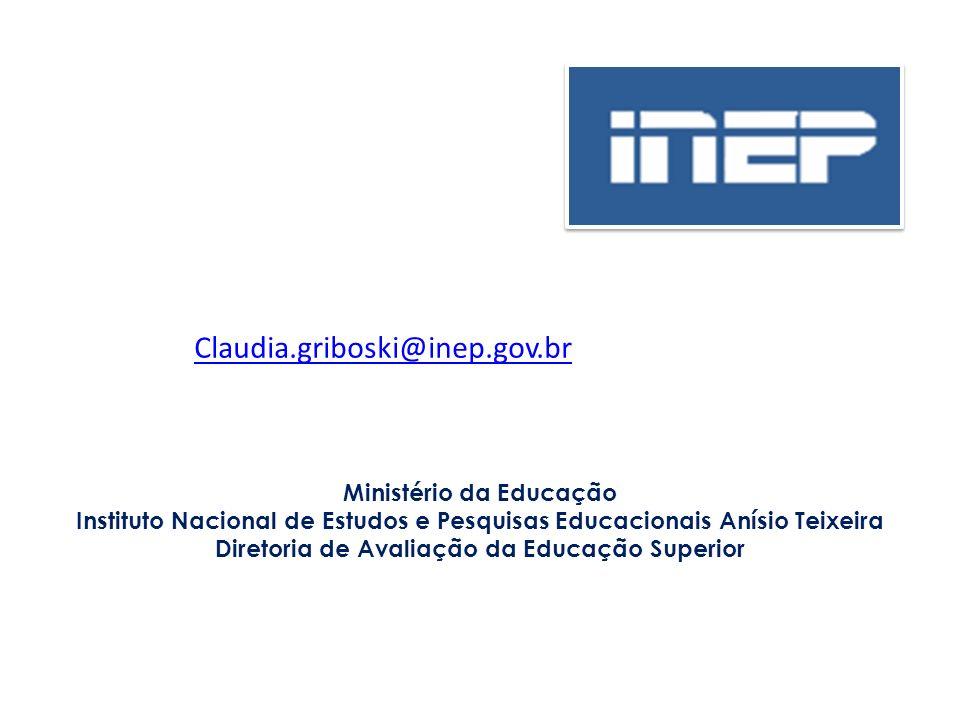 Ministério da Educação Instituto Nacional de Estudos e Pesquisas Educacionais Anísio Teixeira Diretoria de Avaliação da Educação Superior Claudia.grib