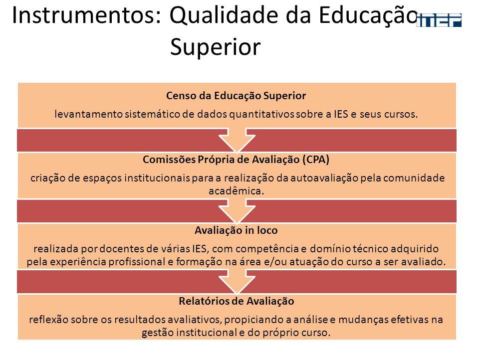 Instrumentos: Qualidade da Educação Superior Relatórios de Avaliação reflexão sobre os resultados avaliativos, propiciando a análise e mudanças efetiv
