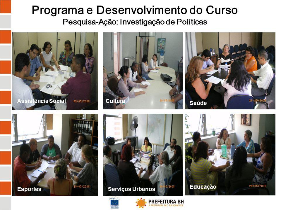 Programa e Desenvolvimento do Curso Pesquisa-Ação: Restituição das Investigações Assistência Social Cultura Saúde Esportes Serviços UrbanosEducação