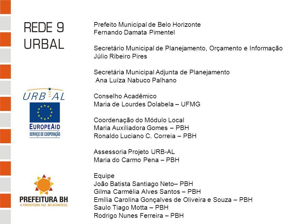 Prefeito Municipal de Belo Horizonte Fernando Damata Pimentel Secretário Municipal de Planejamento, Orçamento e Informação Júlio Ribeiro Pires Secretá