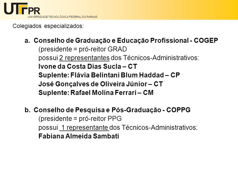 UNIVERSIDADE TECNOLÓGICA FEDERAL DO PARANÁ Colegiados especializados: a.Conselho de Graduação e Educação Profissional - COGEP (presidente = pró-reitor