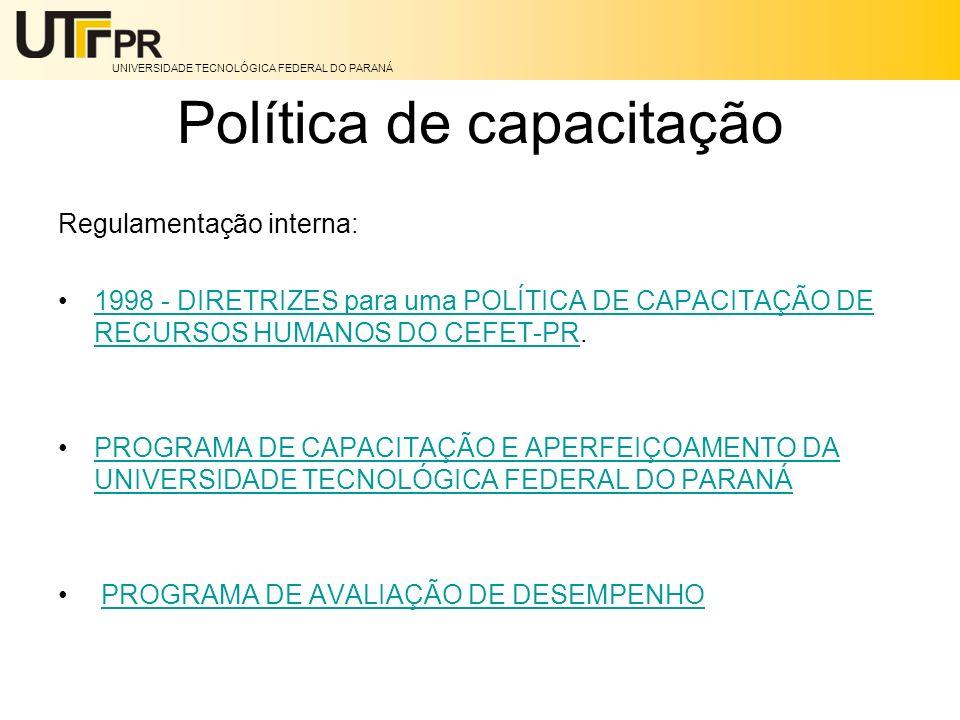 UNIVERSIDADE TECNOLÓGICA FEDERAL DO PARANÁ Política de capacitação Regulamentação interna: 1998 - DIRETRIZES para uma POLÍTICA DE CAPACITAÇÃO DE RECUR