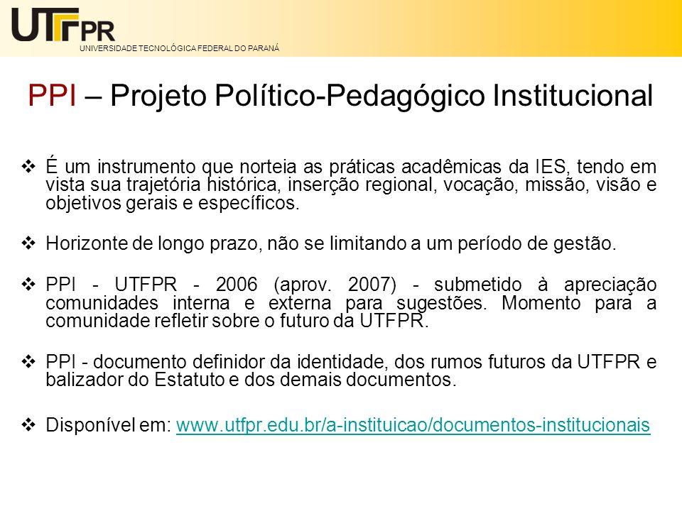 UNIVERSIDADE TECNOLÓGICA FEDERAL DO PARANÁ PPI – Projeto Político-Pedagógico Institucional É um instrumento que norteia as práticas acadêmicas da IES,
