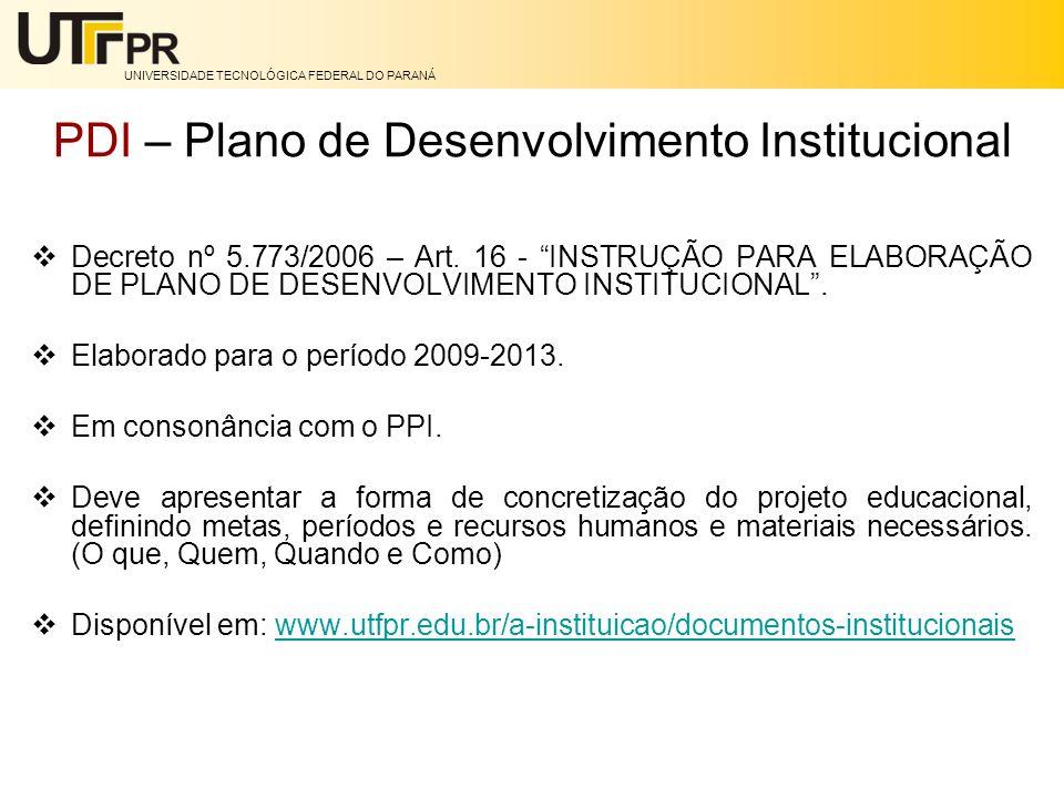 UNIVERSIDADE TECNOLÓGICA FEDERAL DO PARANÁ PDI – Plano de Desenvolvimento Institucional Decreto nº 5.773/2006 – Art. 16 - INSTRUÇÃO PARA ELABORAÇÃO DE