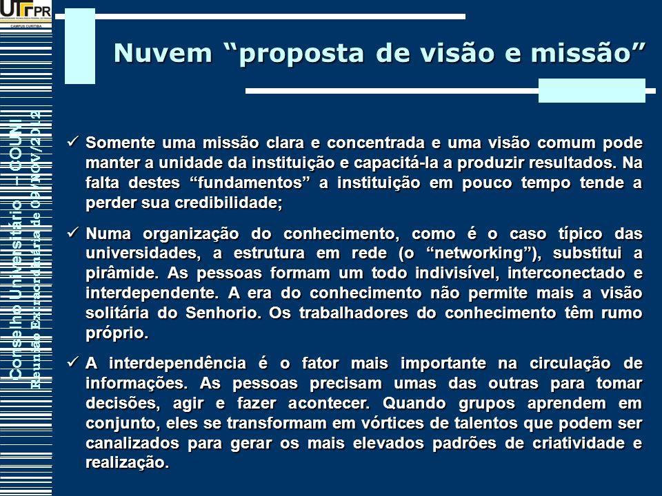 Conselho Universitário – COUNI Reunião Extraordinária de 09/NOV/2012 Nuvem proposta de visão e missão Somente uma missão clara e concentrada e uma vis