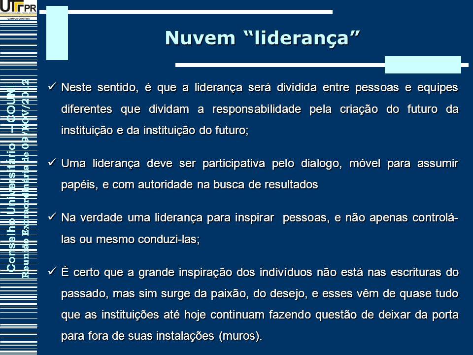 Conselho Universitário – COUNI Reunião Extraordinária de 09/NOV/2012 Nuvem liderança Neste sentido, é que a liderança será dividida entre pessoas e eq