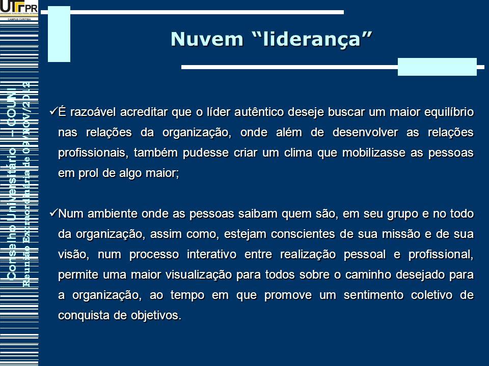 Conselho Universitário – COUNI Reunião Extraordinária de 09/NOV/2012 Nuvem liderança É razoável acreditar que o líder autêntico deseje buscar um maior
