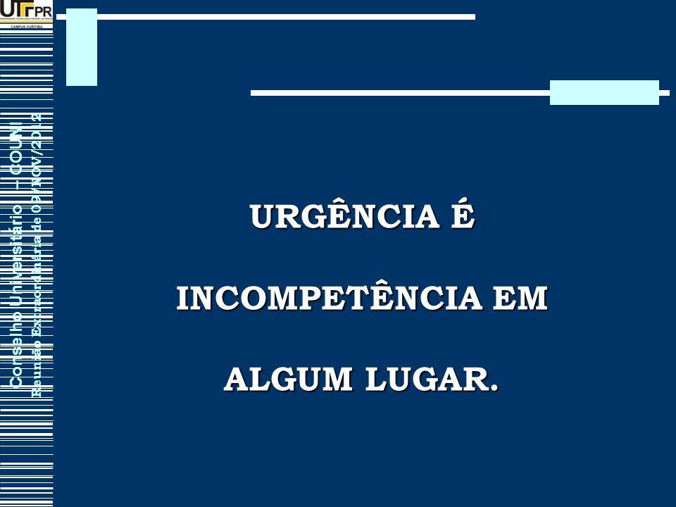 Conselho Universitário – COUNI Reunião Extraordinária de 09/NOV/2012 URGÊNCIA É INCOMPETÊNCIA EM ALGUM LUGAR.