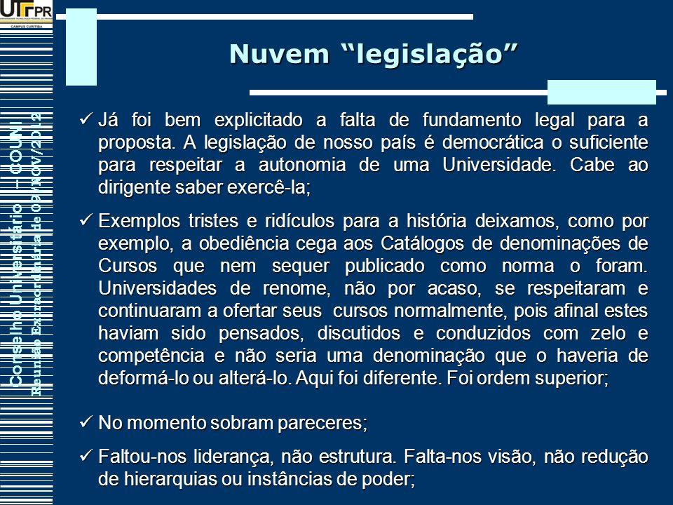 Conselho Universitário – COUNI Reunião Extraordinária de 09/NOV/2012 Já foi bem explicitado a falta de fundamento legal para a proposta. A legislação