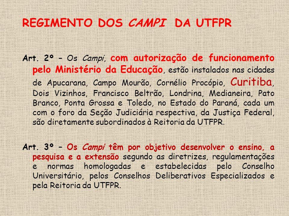 REGIMENTO DOS CAMPI DA UTFPR Art.